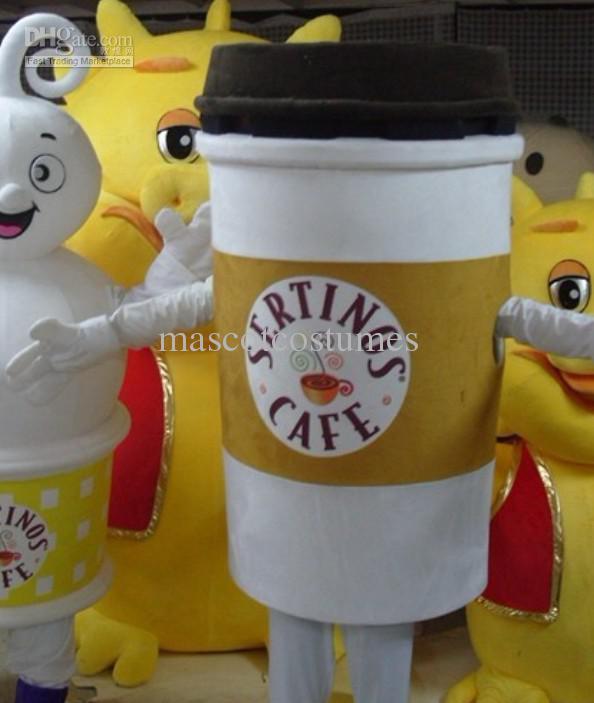 Aangepaste pluche koffie cup mascotte kostuums voor partij goede kwaliteit is exclusief logo gratis verzending
