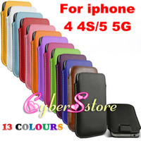 Wholesale Pull Leather - 200pcs Pull Up Rope Slim PU Leather Case Pouch Bag Case Cover for iphone 4 4S 4G 5 5S