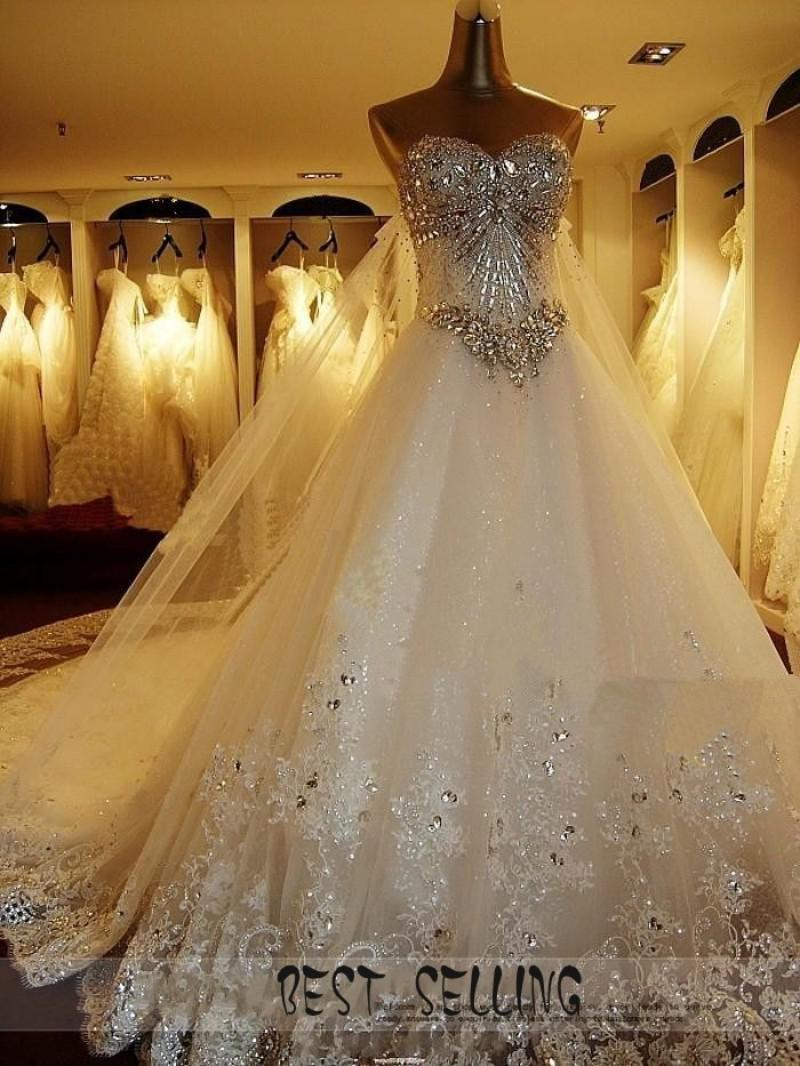 2013 New Luxury Wedding Dress sweetheart swarovski crystal Organza Sleeveless A-Line Cathedral Church Wedding Dresses of Brides Bridal Gowns