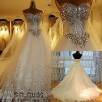 Wholesale Cathedral Swarovski - 2013 New Luxury Wedding Dress sweetheart swarovski crystal Organza Sleeveless A-Line Cathedral Church Wedding Dresses of Brides Bridal Gowns