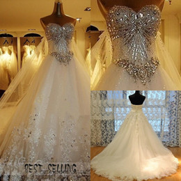 Wholesale Swarovski Luxury Ball Gown - 2013 New Luxury Wedding Dress sweetheart swarovski crystal Organza Sleeveless A-Line Cathedral Church Wedding Dresses of Brides Bridal Gowns