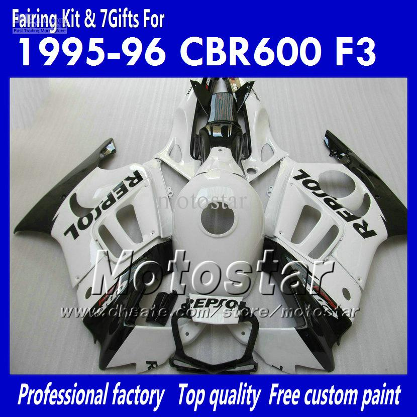 7gifts aftermarket fairings for HONDA CBR600F3 95 96 CBR600 F3 1995 1996 CBR 600 F3 95 96 glossy white black Repsol fairing