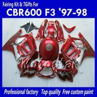 Wholesale 98 F3 - Fairing body kit for HONDA CBR600 F3 97 98 CBR 600 F3 1997 1998 CBR 600F3 97 98 all glossy red custom fairings set TT89+ 7 gifts
