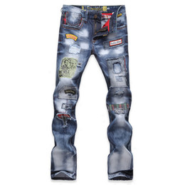 Wholesale Fly Patch - TOP Mens Jeans Fashion Torn Jeans Patched Holey Washed Words Straight Leg Fitted Free Shipping