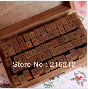top popular 70 pcs set Wooden Stamps AlPhaBet digital and letters seal standardized form stamps 14.6*8.6*5cm 2 styles 2021