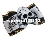 Wholesale Stoned Hair Bow Wholesale - Halloween Handmade Pet Dog Accessories Mix Skull Stone Charms Dog Bows, Pet Dog Hair Clips Hair Flower pets Grooming 100pcs Lot