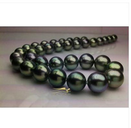 Pearl Day Canada - stunning 10-11mm natural tahitian black green pearl necklace 18inch 14kValentine's Day present