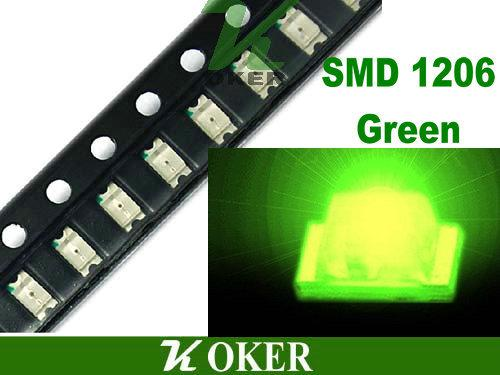 / Reel SMD 1206 3216 Diodi lampada a LED verde giada ultra luminosa