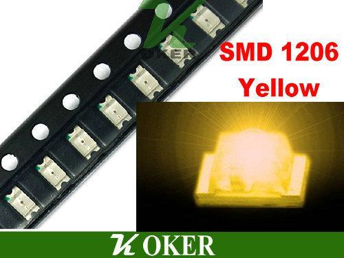 / 릴 SMD 1206 3216 노란색 LED 램프 다이오드 울트라 밝은 SMD