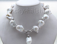 "Wholesale Keshi Pearl White - New fine pearl jewelry natural luster 17"" 22mm white Reborn keshi pearls necklace"