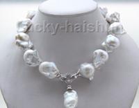 keshi perlas collar blanco al por mayor-Nueva joyería de perlas finas brillo natural 17