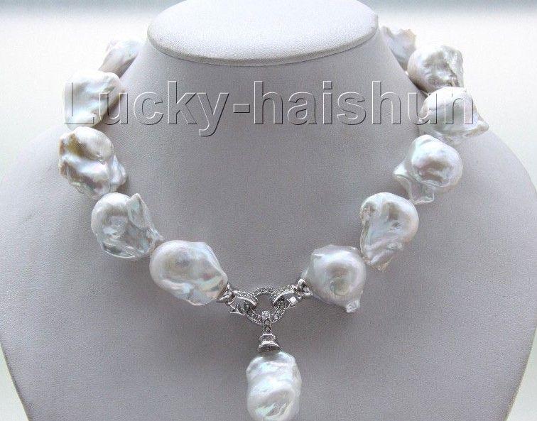"""Nueva joyería fina perla brillo natural 17"""" 22 mm blanco Renacido keshi collar de perlas"""