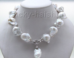 """Perle di keshi naturali online-Nuovo gioiello di perle fini lustro 17 """"22mm bianco Reborn collana di perle keshi"""