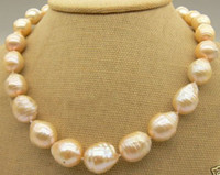 """Wholesale 13mm Pearl Necklace - New fine pearl jewelry natural stunning elegant 11-13mm south sea gold pink pearl necklace 18""""14k YG"""
