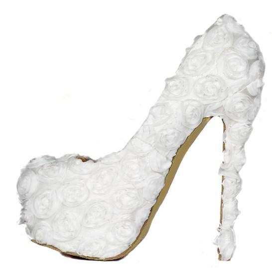 Women's Shoes Round Head White Roses Flower Bride Shoes Wedding ...
