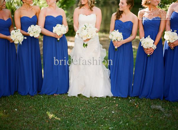 s!!2013 Simple Fashion Hot Sale Blue Strapless Ruffle Custom Made Chiffon Floor Length Bridemaid dresses