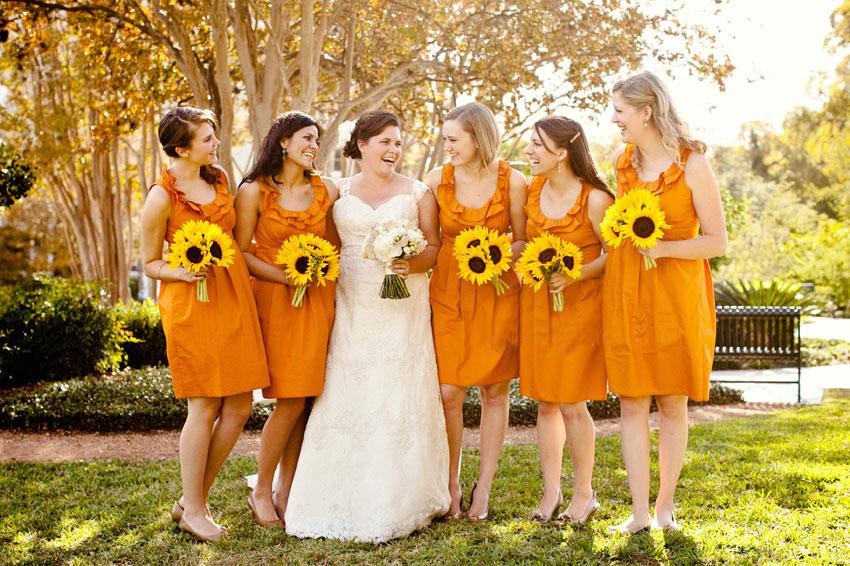 s!!2013 Simple Exquisite Hot Sale Orange Crew Collar Ruffle Custom Made Taffeta Knee Length Bridemaid dresses