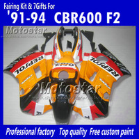 Wholesale Repsol Cbr - Motocycle fairings for HONDA CBR600 F2 91 92 93 94 CBR600F2 1991 1992 1993 1994 CBR 600 orange black Repsol custom fairings set UU21