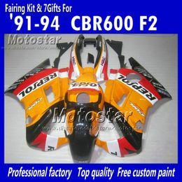China Motocycle fairings for HONDA CBR600 F2 91 92 93 94 CBR600F2 1991 1992 1993 1994 CBR 600 orange black Repsol custom fairings cheap repsol color suppliers