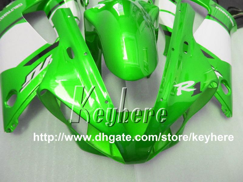 무료 7 선물 YAMAHA YZF R1 2000 2001 YZFR1 00 01 YZF1000R 페어링 G1r 새로운 핫 세일 녹색 검은 오토바이 prats에 대한 맞춤 레이스 페어링 키트