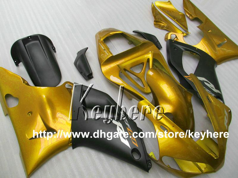 Gratis 7 geschenken Custom Race Fairing Kit Foryamaha YZF R1 2000 2001 YZFR1 00 01 YZF1000R FACEERS G4R Nieuwe Hot Sale Golden Black Motorcycle Prats