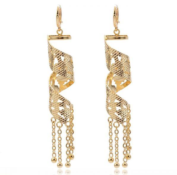 (233E) 18k Gold Filled Retro Style Drop Earrings Fashion For Special Women Jewelry with Tassel Good Quality