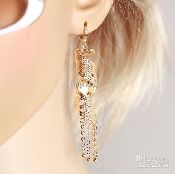 233E 18k Gold Filled Retro Style Drop Earrings Fashion For Special Women Jewelry with Tassel Good Quality