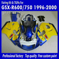 Wholesale 1998 Suzuki Gsxr Custom Fairing - Custom glossy blue yellow motocycle fairings UU65 FOR 1996 1997 1998 1999 2000 suzuki GSXR600 GSXR750 GSXR 600 750 96 97 98 99 00 96-00