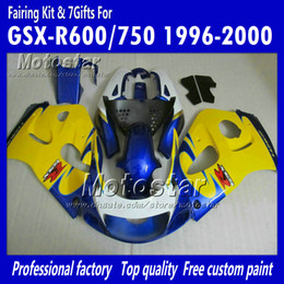 Wholesale Suzuki 99 - Custom glossy blue yellow motocycle fairings UU65 FOR 1996 1997 1998 1999 2000 suzuki GSXR600 GSXR750 GSXR 600 750 96 97 98 99 00 96-00