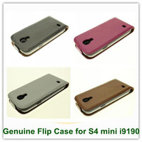 Wholesale Galaxy S4 Mini Flip Covers - 1PCS New Arrival Genuine Leather Flip Covers Case Case for Samsung Galaxy S4 mini i9190 Free Shipping