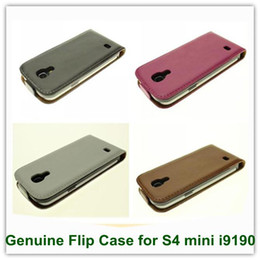 Wholesale New Arrival Free Shipping S4 - 1PCS New Arrival Genuine Leather Flip Covers Case Case for Samsung Galaxy S4 mini i9190 Free Shipping