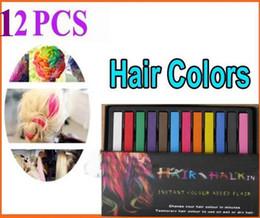 Wholesale Dye Pastel - 2013 Women's Fashion Non-toxic Temporary Color Hair Chalk Dye Paste Chalk Bug Rub Soft Fencai Bar 12 Pieces set