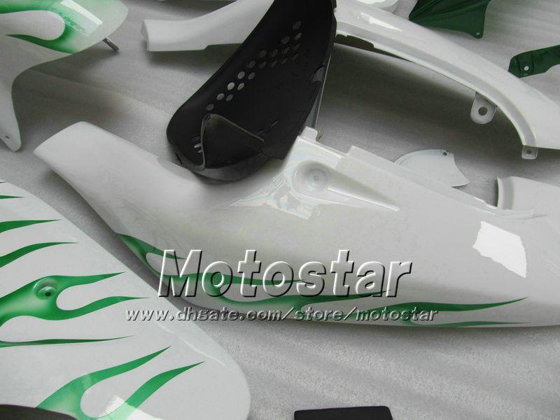 Flamme verte sur mesure dans les carénages de moto blancs UU67 POUR 1996 1997 1998 1999 2000 suzuki GSXR600 GSXR750 GSXR 600 750 96 97 98 99 00 00 96-00
