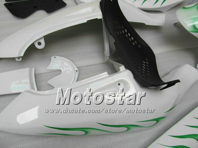 Custom Green Flame in White Motoctycle Backings UU67 voor 1996 1997 1998 1999 2000 Suzuki GSXR600 GSXR750 GSXR 600 750 96 97 98 99 00 96-00