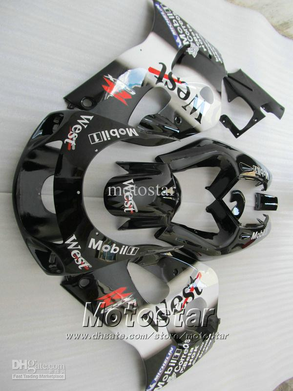 Custom Glossy Black West Motocycle carénages UU69 pour 1996 1997 1998 1999 2000 Suzuki GSXR600 GSXR750 GSXR 600 750 96 97 98 99 00 96-00