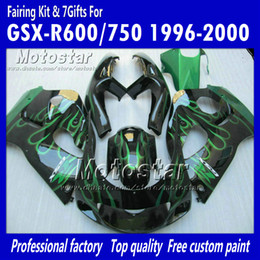 Wholesale 1998 Suzuki Gsxr Custom Fairing - Custom green flame in black motocycle fairings UU73 FOR 1996 1997 1998 1999 2000 suzuki GSXR600 GSXR750 GSXR 600 750 96 97 98 99 00 96-00