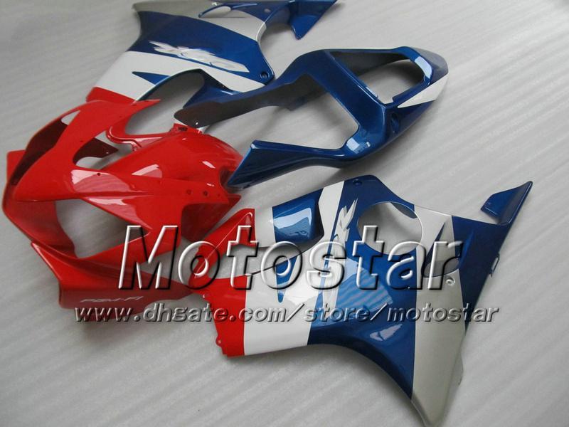 Carénages bon marché pour HONDA CBR600F4i 01 02 03 CBR600 F4i CBR 600 F4i 2001 2002 2003 kits de carénage de moto injection bleu rouge brillant