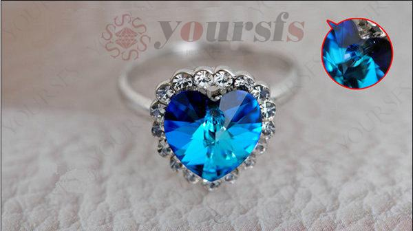 Yoursfs Austrian Crystal Rings 18 K White Gold Plated Use Austria Crystal Engagement Heart Of Ocean Bridal Wedding Rings for Women Jewelry