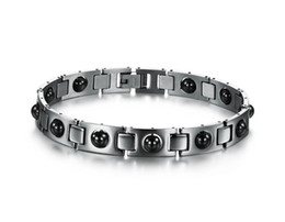 Wholesale 316l Stainless Steel Magnetic Clasp - new design 316L stainless steel fashion black magnetic stone chain bracelet wholesale