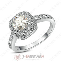 Wholesale Used Vintage - Yoursfs Statement Rings Most Popular Personality Use Austria Crystal 18 K White Gold Plated 1CT Emulational Diamond Wedding Rings Vintage