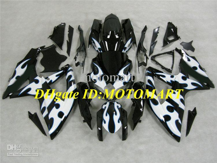 Motorfietskosten voor 2008 2009 SUZUKI GSXR600 750 GSXR 600 GSXR 750 K8 08 09 GSX-R600 GSX-R750 WITTE BLACK ABS FACEERS KIT + 7GIFTS SW28