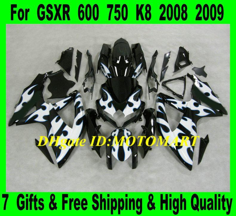Carénage de moto pour 2008 2009 SUZUKI GSXR600 750 GSXR 600 GSXR 750 K8 08 09 GSX-R600 GSX-R750 kit carénage abs blanc + 7jeux SW28