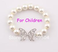 Wholesale Bracelet Charms For Kids - NEW Elastic Children Butterfly Bracelet Stretchy Simulated Pearl Bracelet Bangle for Kids Child ZB34