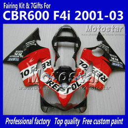 China Customize fairings bodywork for HONDA CBR600F4i 01 02 03 CBR600 F4i CBR 600 F4i 2001 2002 2003 red black Repsol aftermarket fairing UU101 cheap repsol color suppliers