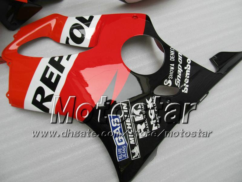 Personalice los carenados de la carrocería para HONDA CBR600F4i 01 02 03 CBR600 F4i CBR 600 F4i 2001 2002 2003 rojo negro Carenado del mercado de accesorios de Repsol UU101