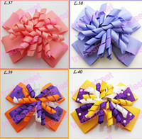 Wholesale Brown Zebra Hair Bow - free shipping 500pcs 4 layered korker bows colors Girl corker hair clips (without headbands) zebra