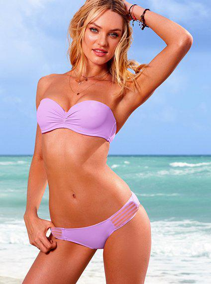 2017 neue Push Up Bandeau Top Geraffte Low-rise Bottom Bikini Set Badeanzug Bademode S / M / L 1 satz Hot