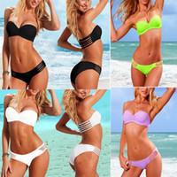 Wholesale Hot Bikini Bandeau - 2017 New Push Up Bandeau Top & Ruched Low-rise Bottom Bikini Set Bathing Suit Swimwear S M L 1set Hot