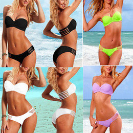 Wholesale Hot Bikini Bandeau - 2017 New Push Up Bandeau Top & Ruched Low-rise Bottom Bikini Set Bathing Suit Swimwear S M L 1set Hot