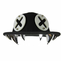 Wholesale Tooth Snapback - Hip Hop Punk Snapback Tooth Teeth Rivet Baseball Cap Bolted Mens' Cap Hat Free Shipping ZHT20